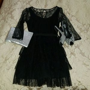 """Forever 21 Black Lace Dress with 3/4"""" sleeves"""